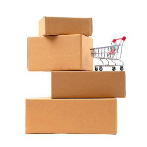 shopping-cart-on-brown-parcels-box-6TD8FQN